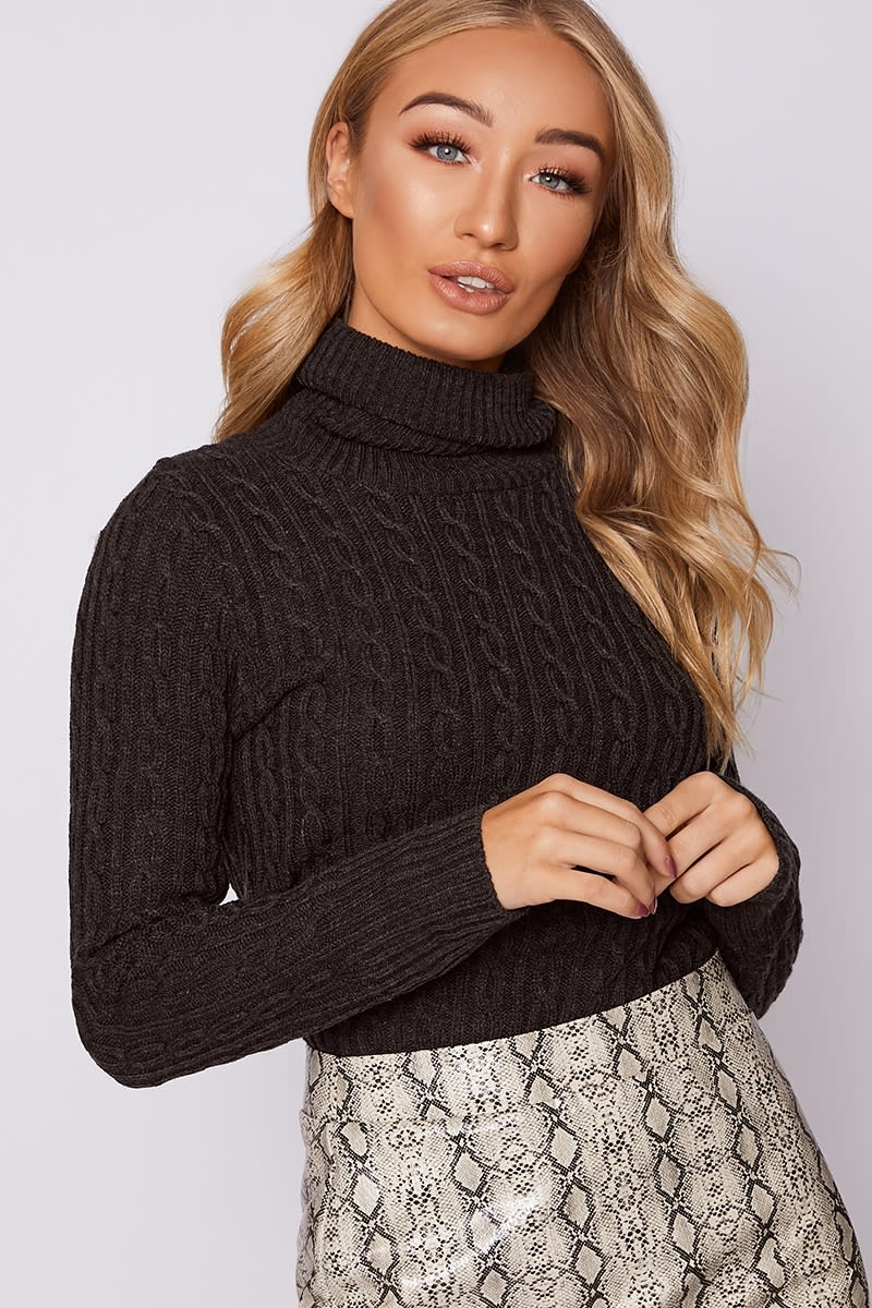 charcoal cable knit roll neck longline jumper
