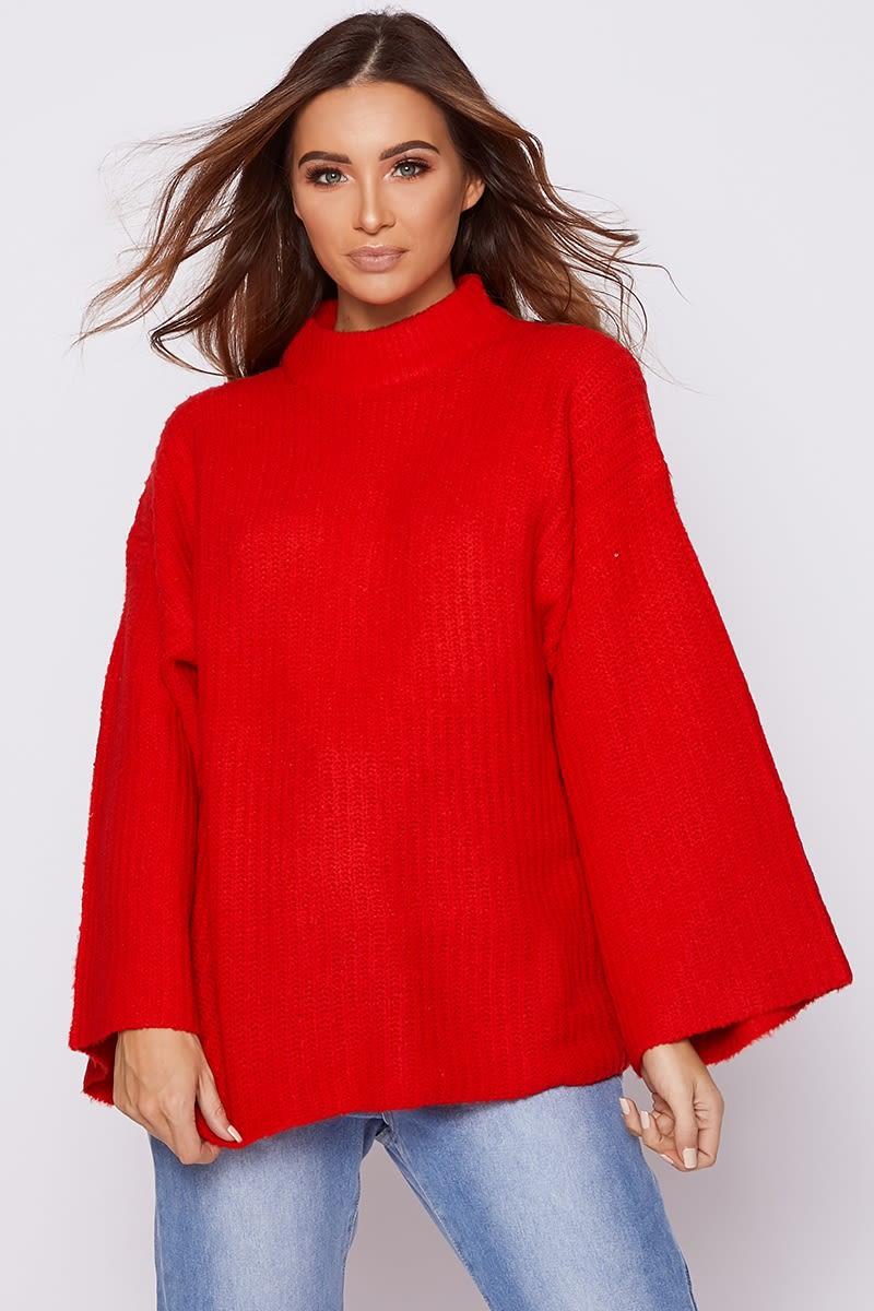 red oversized high neck jumper