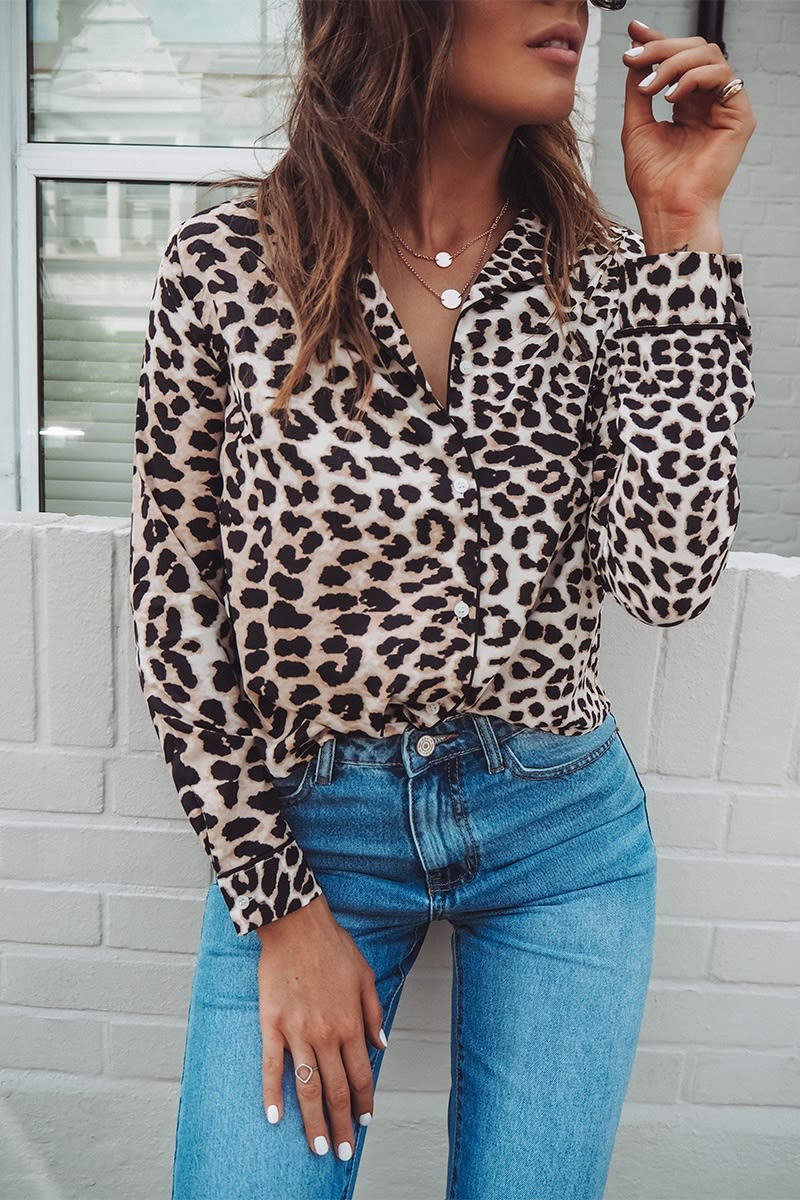 BINKY BROWN LEOPARD PRINT SHIRT