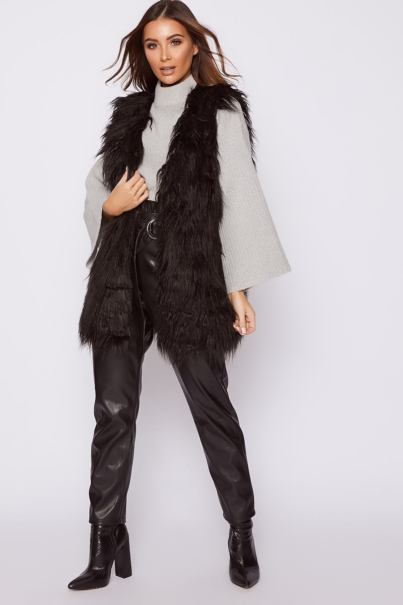 black faux fur shaggy gilet