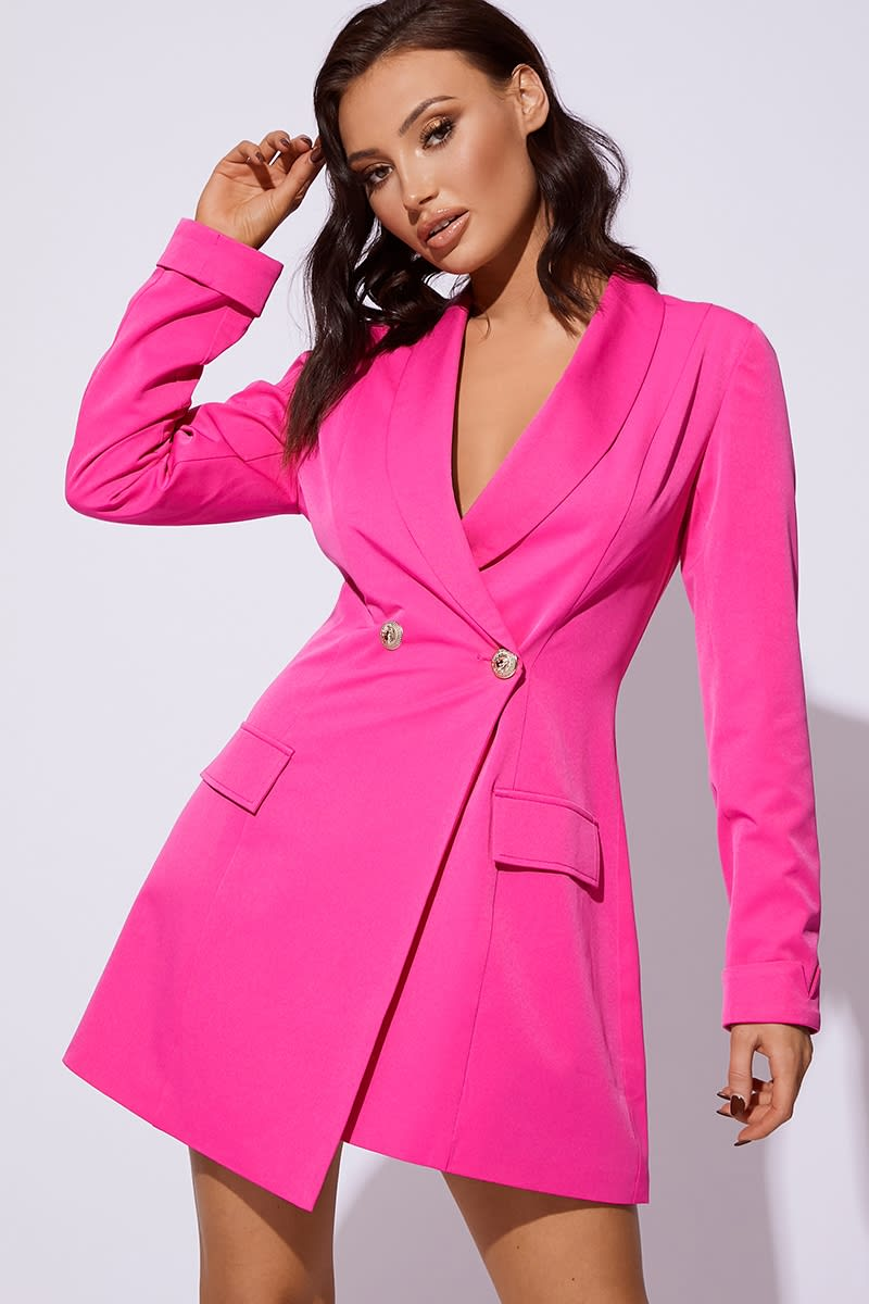 CC CLARKE HOT PINK WRAP FRONT FITTED BLAZER DRESS