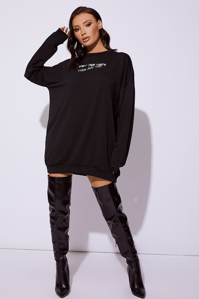 CC CLARKE KNOW YOUR WORTH THEN ADD TAX  BLACK OVERSIZED JUMPER DRESS