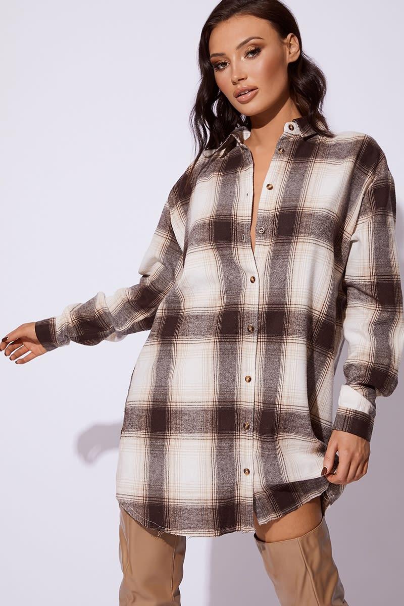 CC CLARKE BROWN CHECKED OVERSIZED SHIRT DRESS