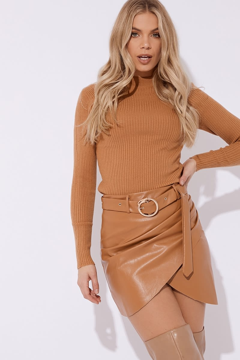 CC CLARKE MOCHA PU WRAP FRONT SNAKE BUCKLE CO-ORD MINI SKIRT