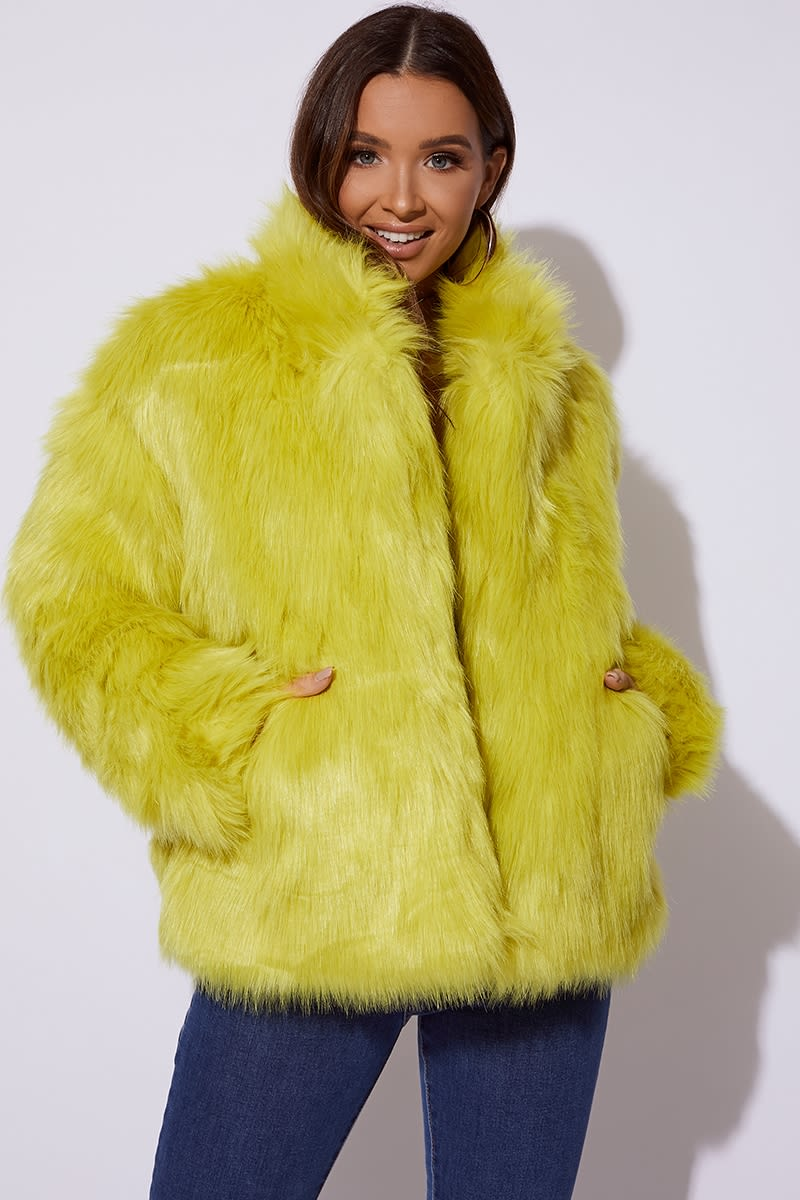 CC CLARKE LIME OVERSIZED FAUX FUR COAT