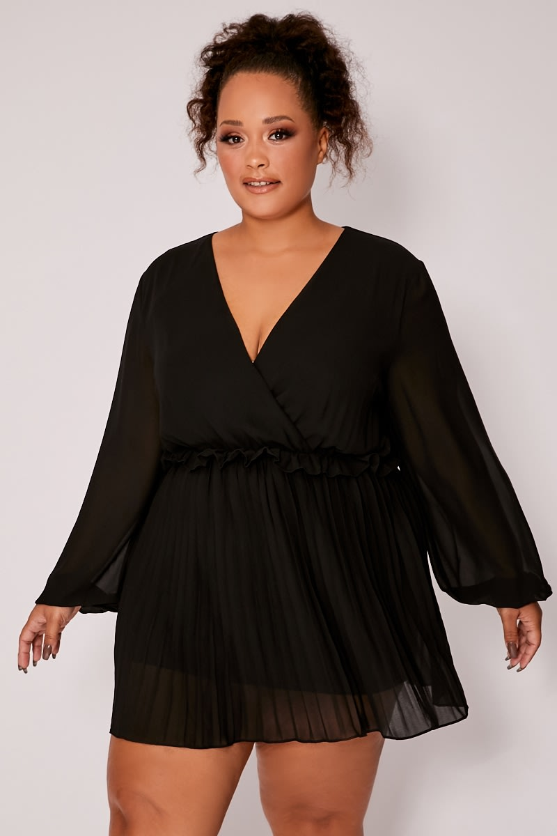 CURVE BLACK BALLOON SLEEVE PLEATED MINI DRESS
