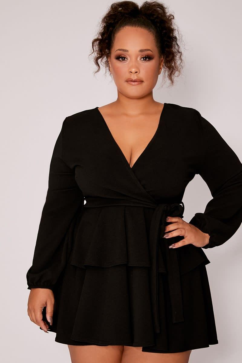 CURVE BLACK CREPE DOUBLE FRILL TIE WAIST MINI DRESS