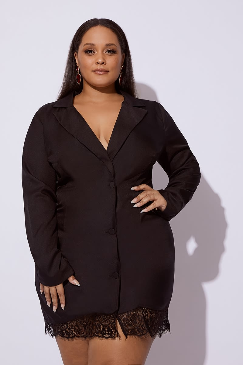 CURVE BLACK LACE TRIM BLAZER DRESS