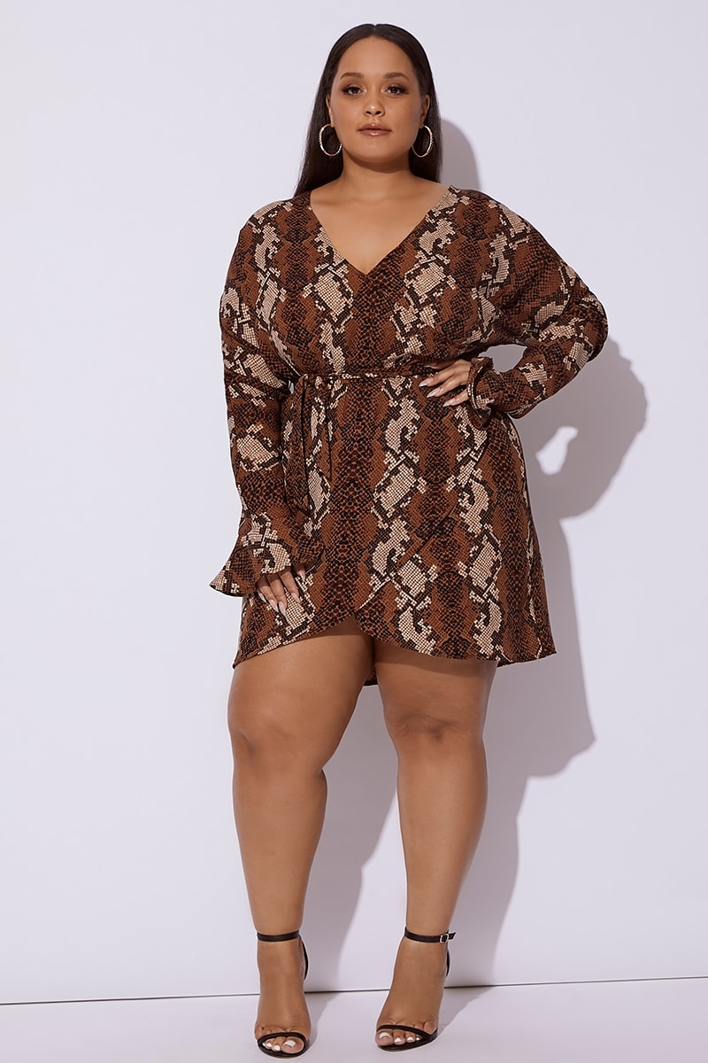 CURVE BROWN SNAKE PRINT FRILL WRAP DRESS