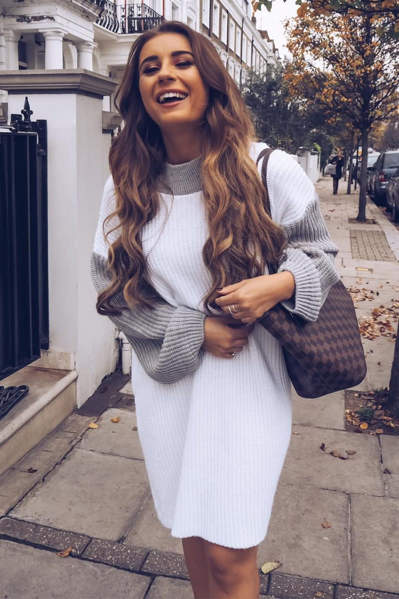 GREY AND WHITE COLOUR BLOCK JUMPER DRESS