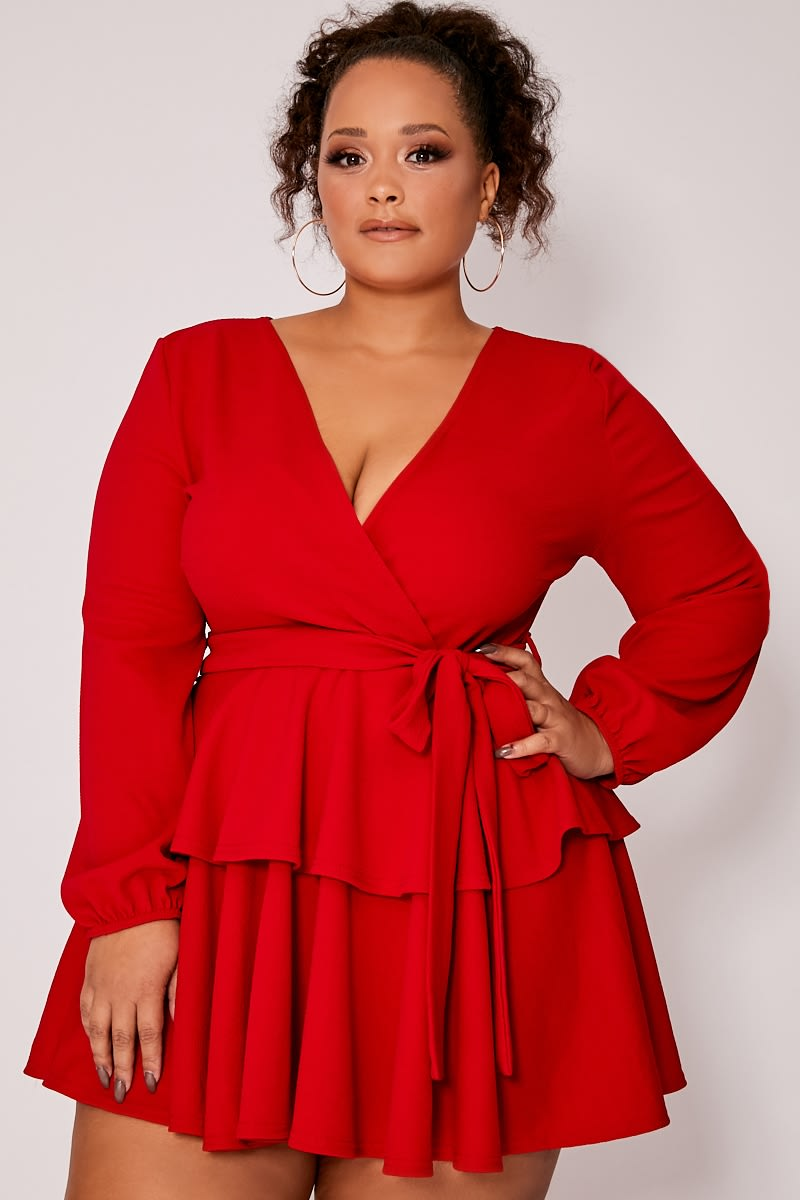 CURVE RED CREPE DOUBLE FRILL TIE WAIST MINI DRESS