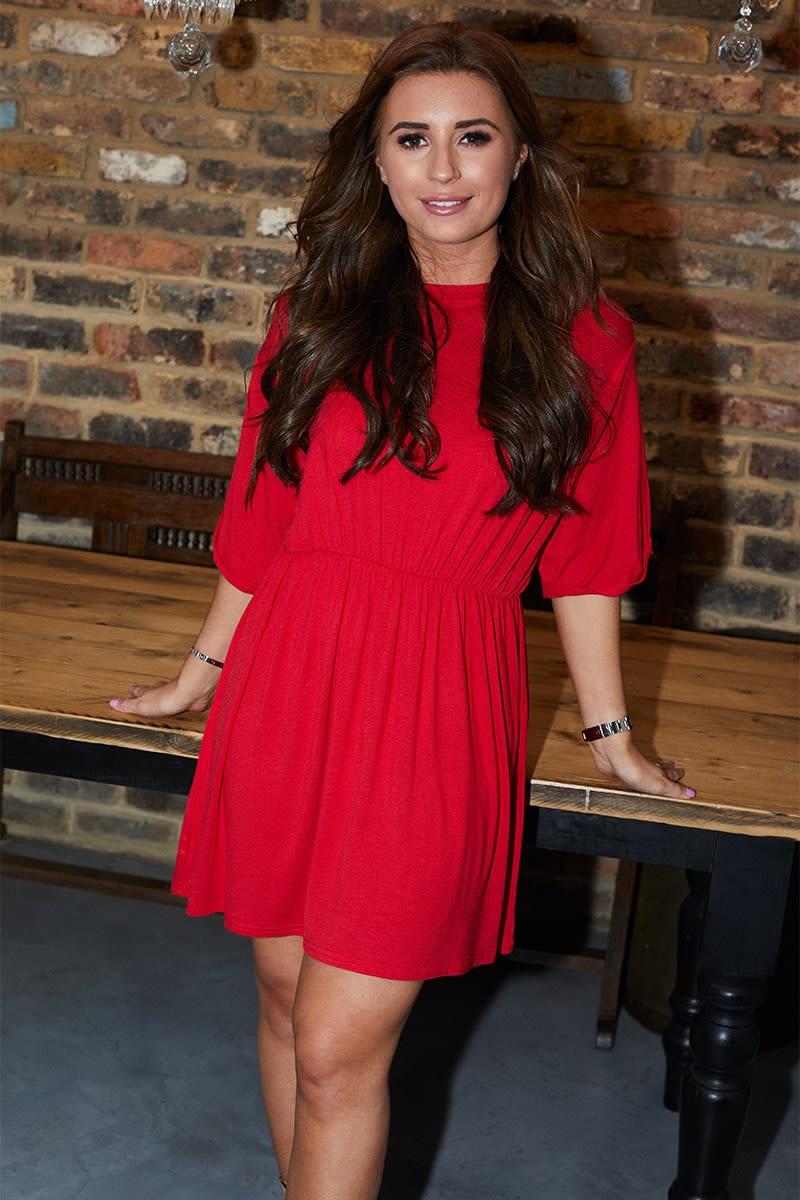 RED OVERSIZED SMOCK DRESS