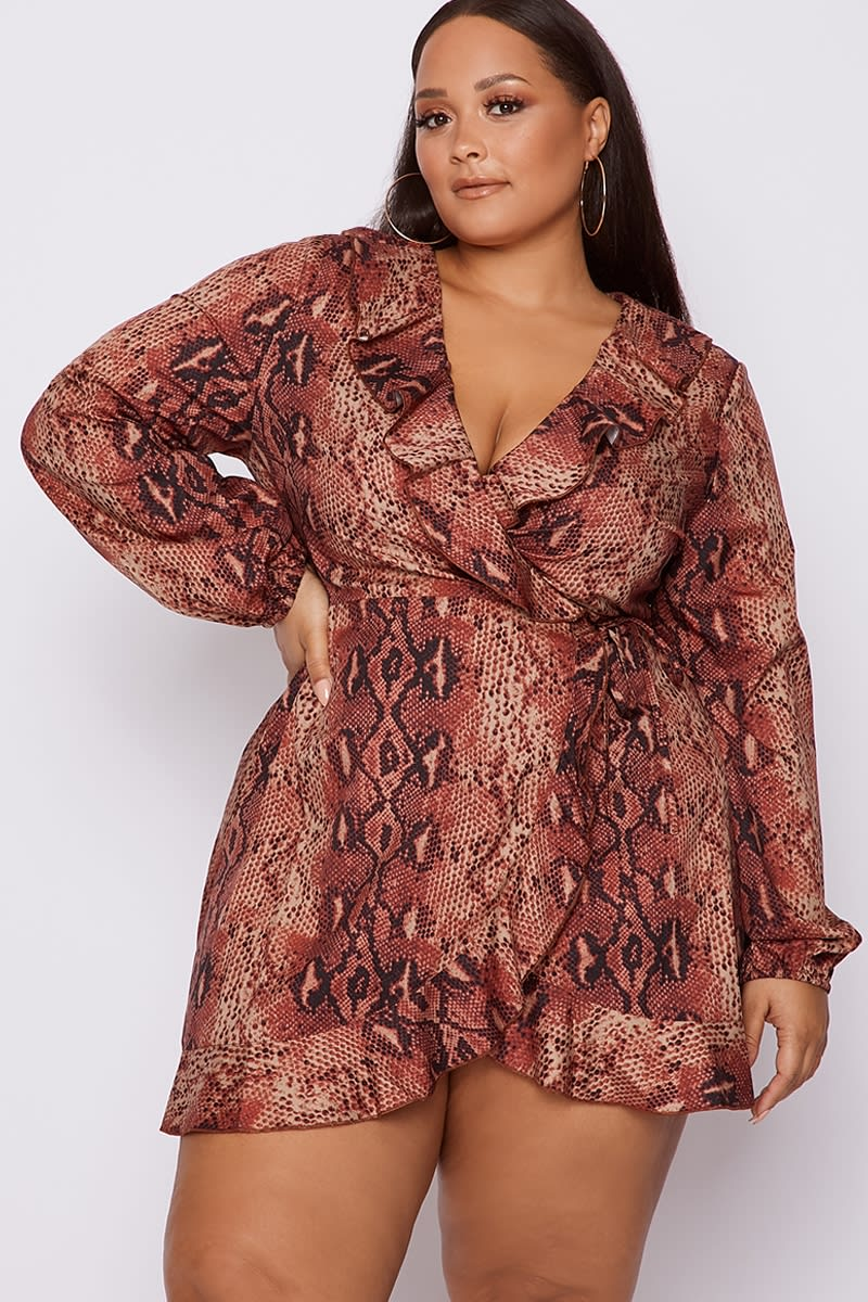 CURVE RUST SNAKE PRINT FRILL WRAP DRESS