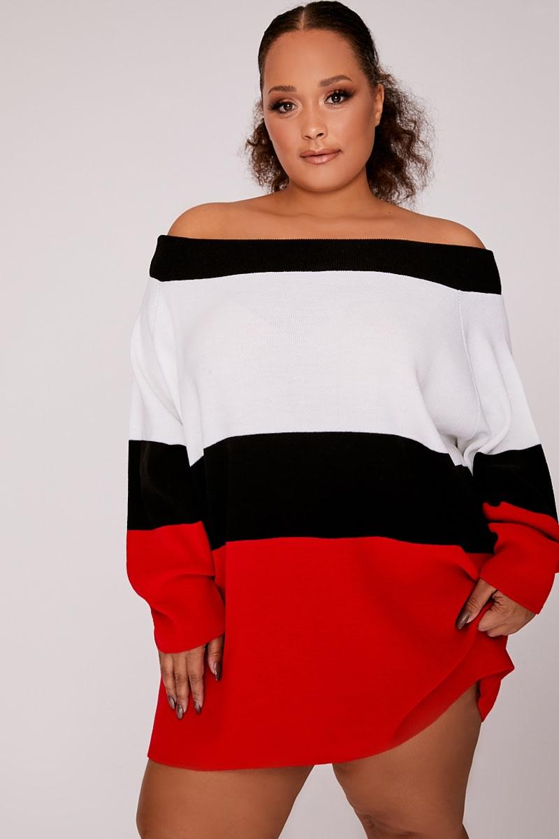 CURVE RED BARDOT STRIPED JUMPER DRESS