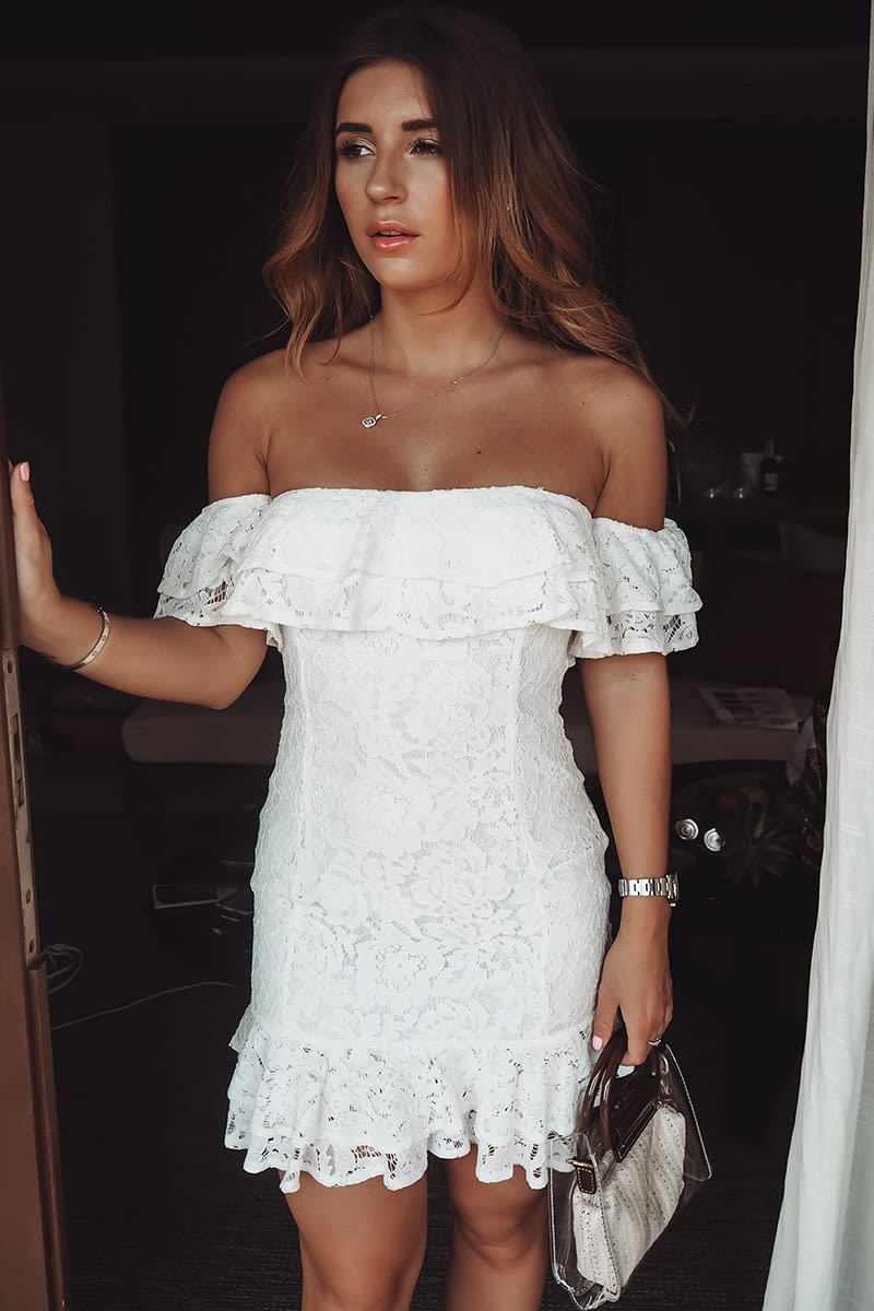 WHITE LACE BARDOT MINI DRESS