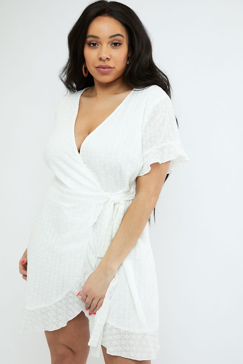 CURVE WHITE WRAP FRONT BRODERIE ANGLAIS MINI DRESS