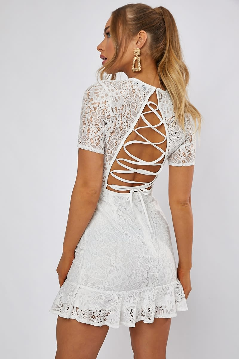 Dani Dyer White Lace Up Back Lace Dress In The Style Usa
