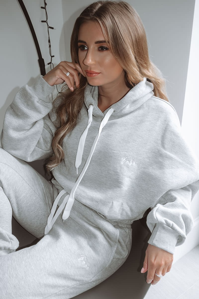 BABE GREY EMBROIDERED CROPPED LOUNGE HOODIE