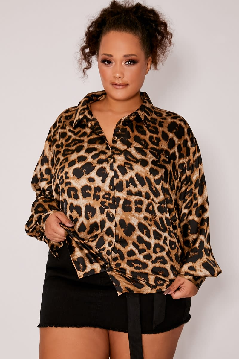 CURVE BROWN LEOPARD PRINT OVERSIZED SHIRT