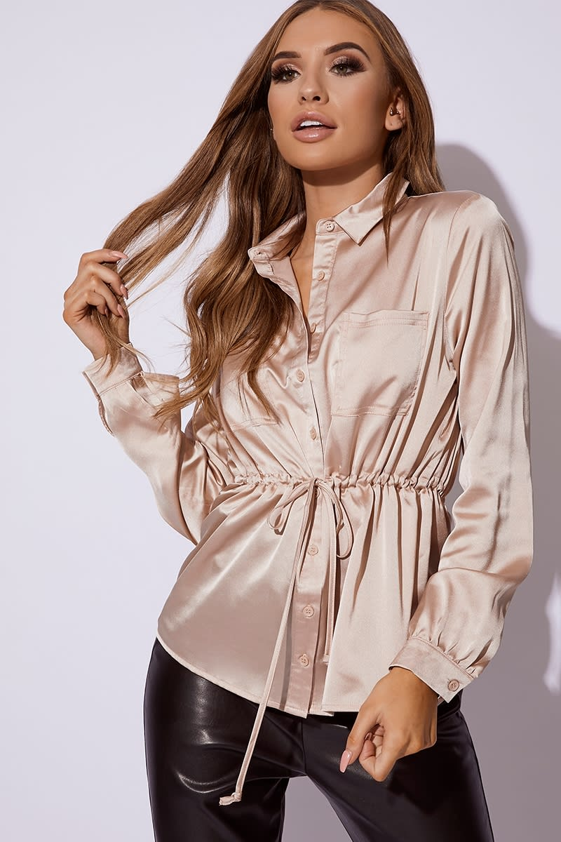 GOLD SATIN TIE WAIST SHIRT
