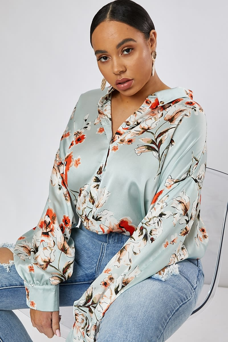 CURVE GREEN FLORAL PRINT OVERSIZED SHIRT