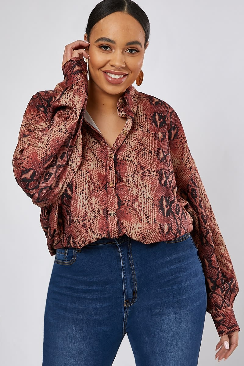 CURVE RUST SNAKE PRINT OVERSIZED SHIRT