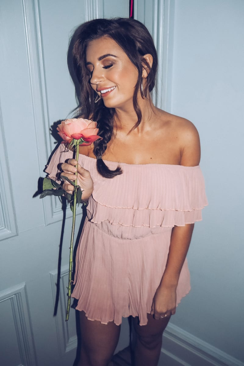 PINK PLEATED BARDOT FRILL PLAYSUIT