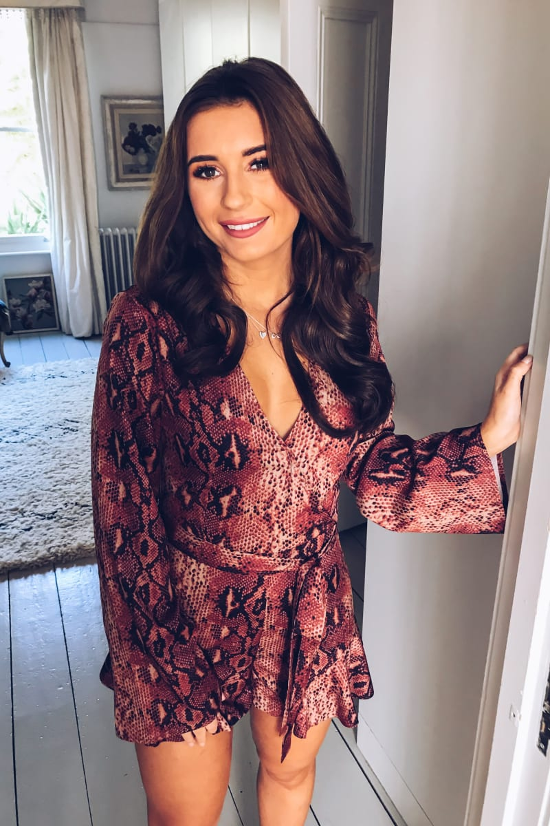 RUST SNAKE PRINT WRAP FRONT PLAYSUIT