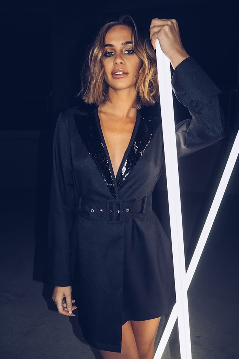 black sequin lapel blazer dress