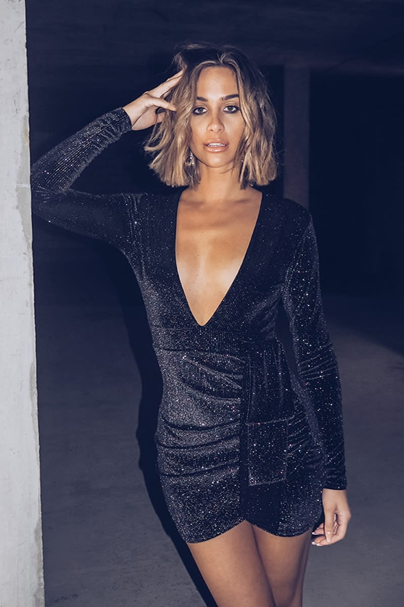 black glitter velvet mini dress
