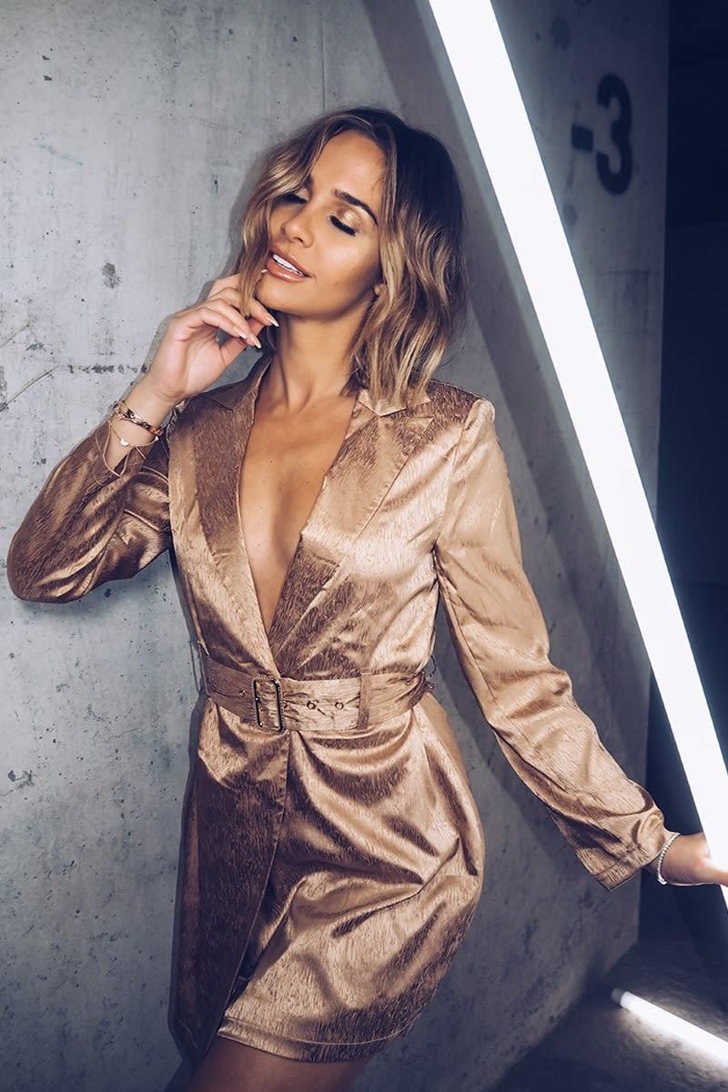 gold satin belted blazer dress