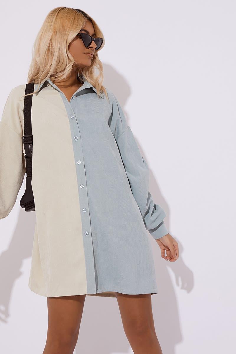 mint two tone cord shirt dress