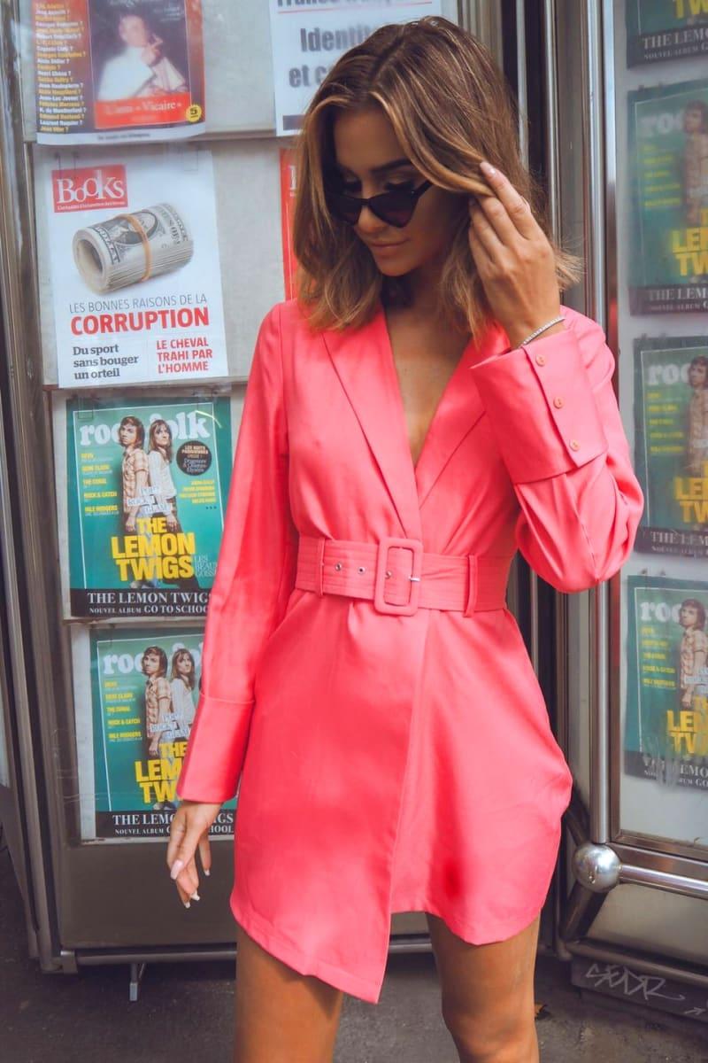 pink extreme cuff belted blazer dress