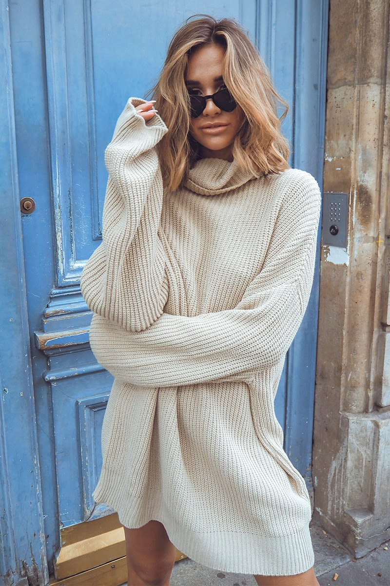 stone cowl neck oversized jumper