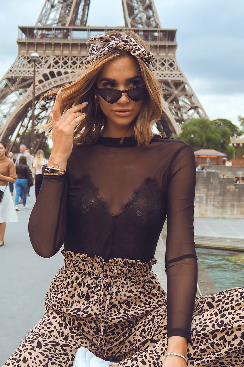 black lace mesh long sleeve bodysuit