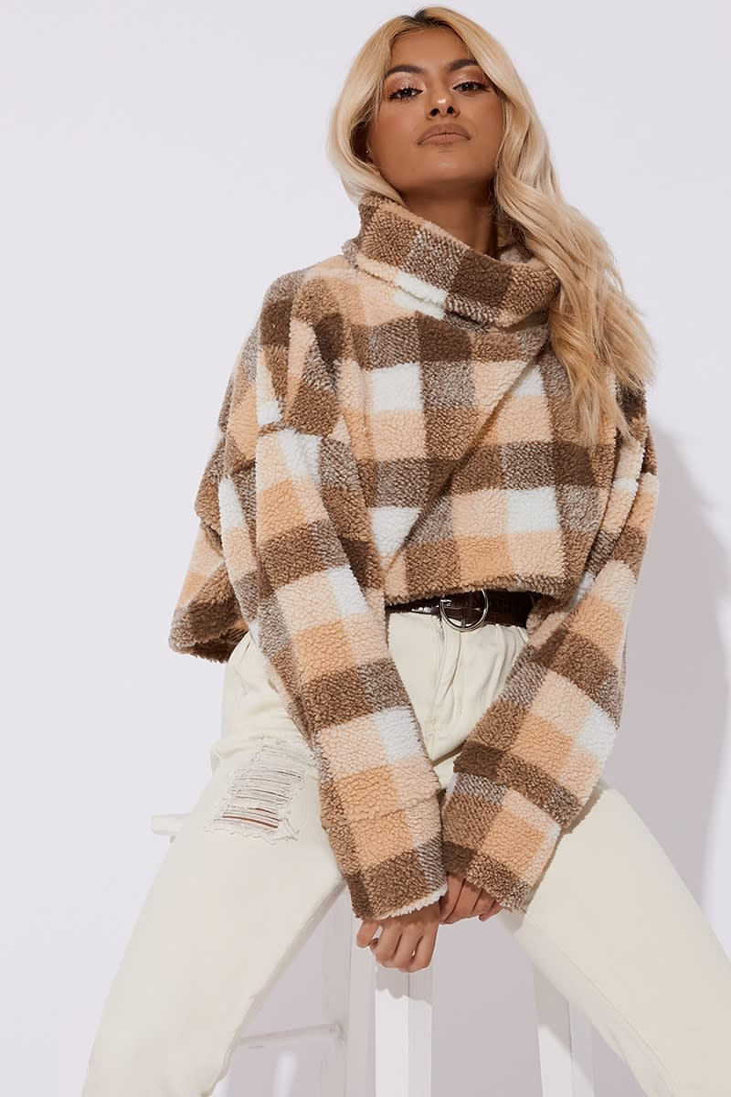 brown check teddy fur high neck cropped jumper