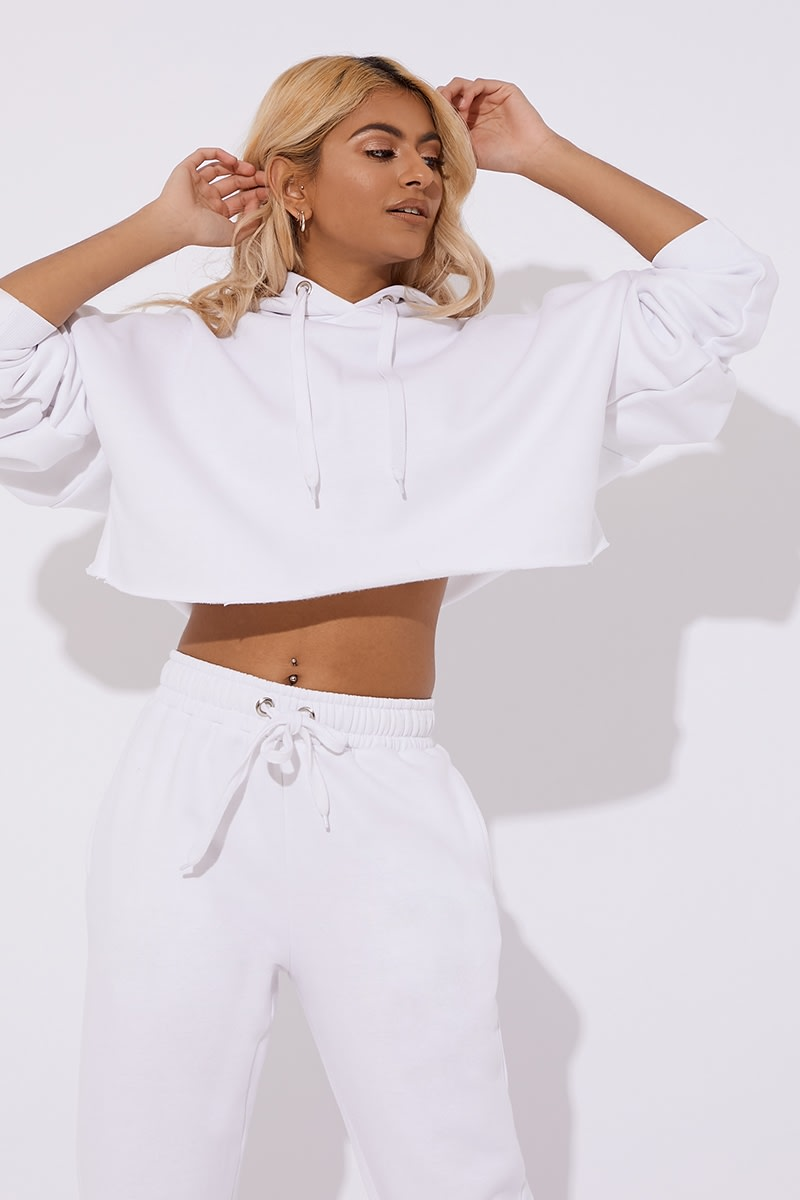 white oversized cropped hoodie