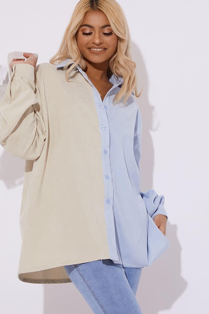 blue two tone cord shirt