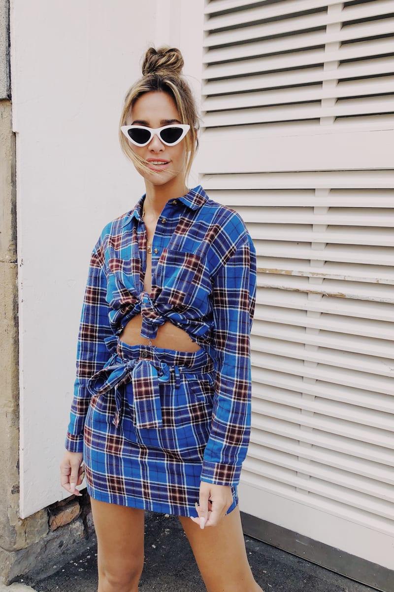 blue tartan tie waist mini skirt