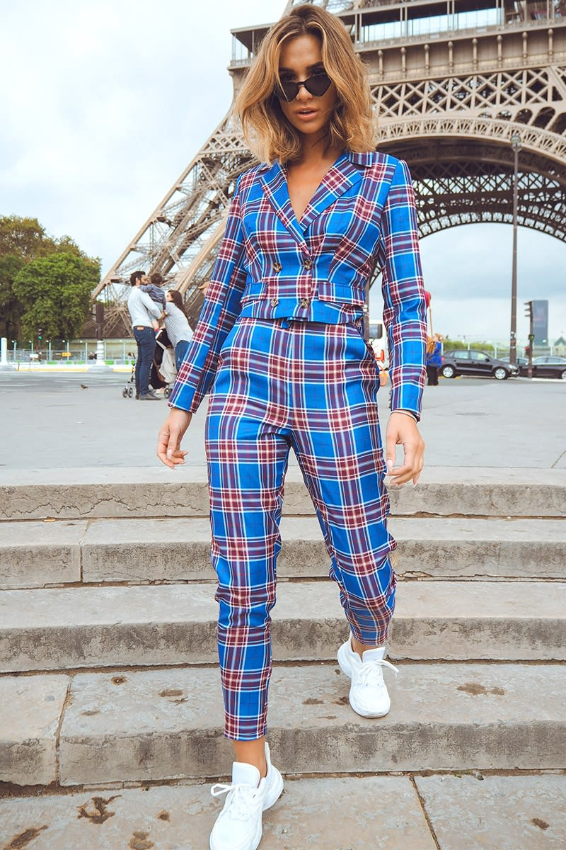 blue tartan high waisted co-ord trousers