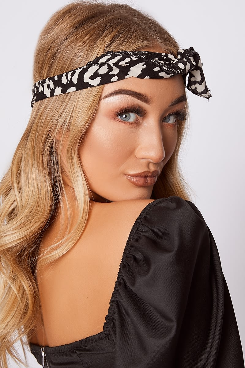 black leopard print head scarf