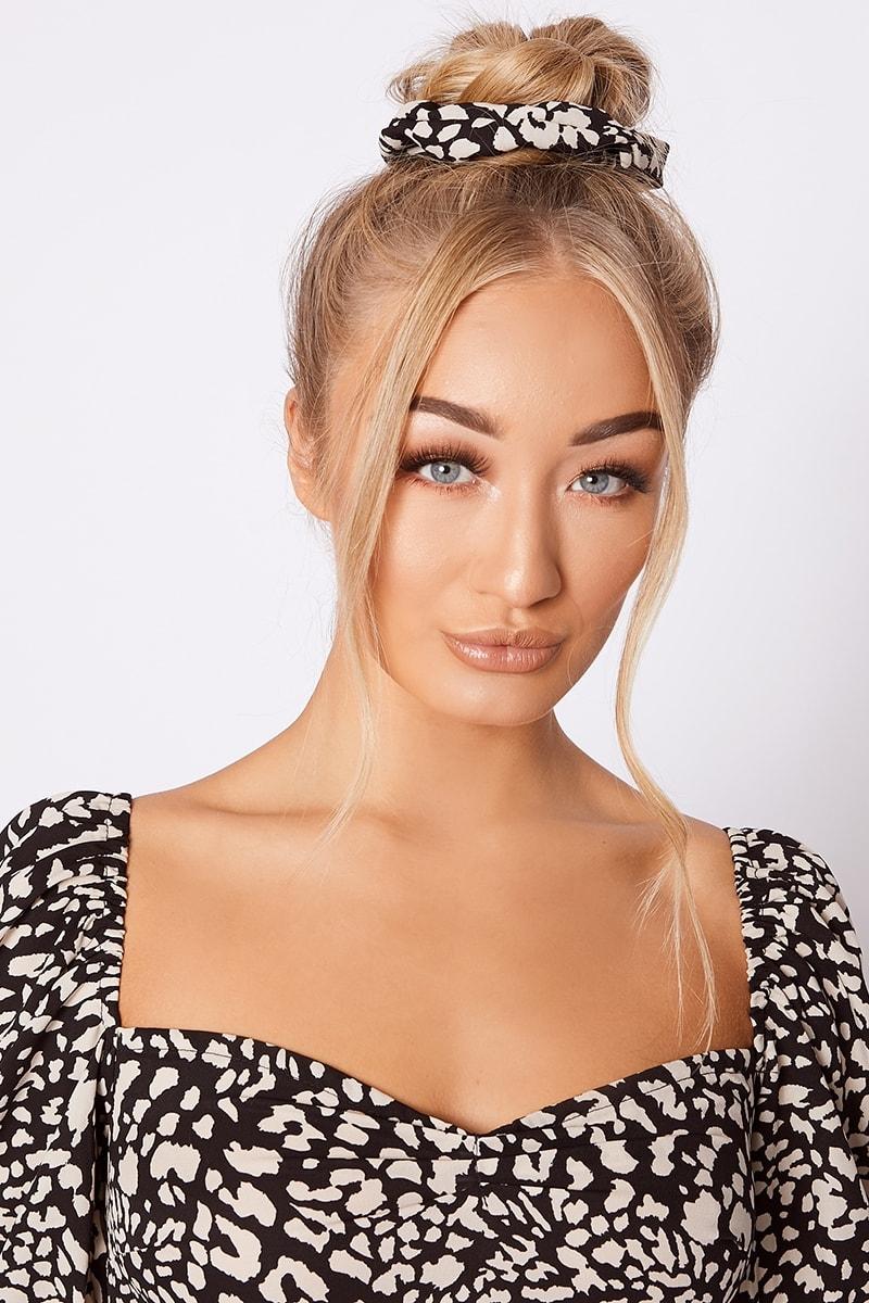 black leopard print scrunchie