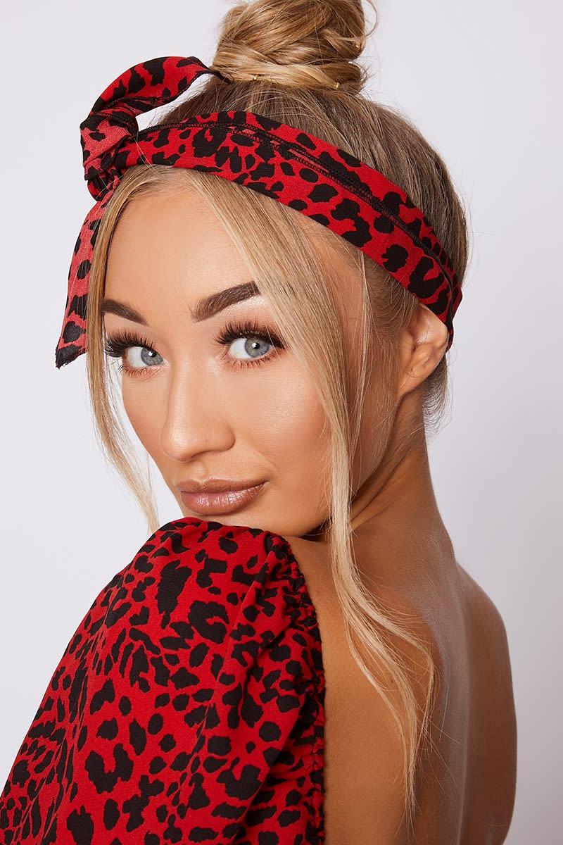 red leopard print head scarf
