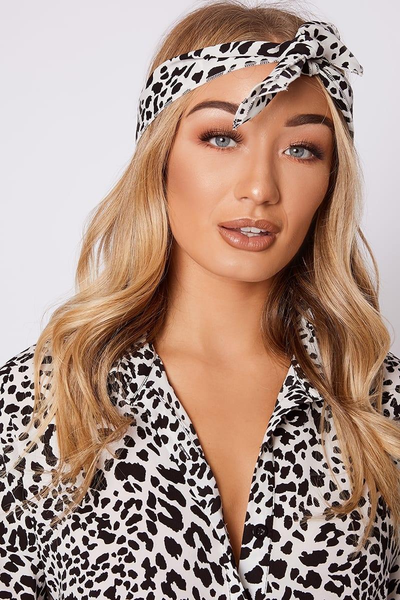 white leopard print head scarf