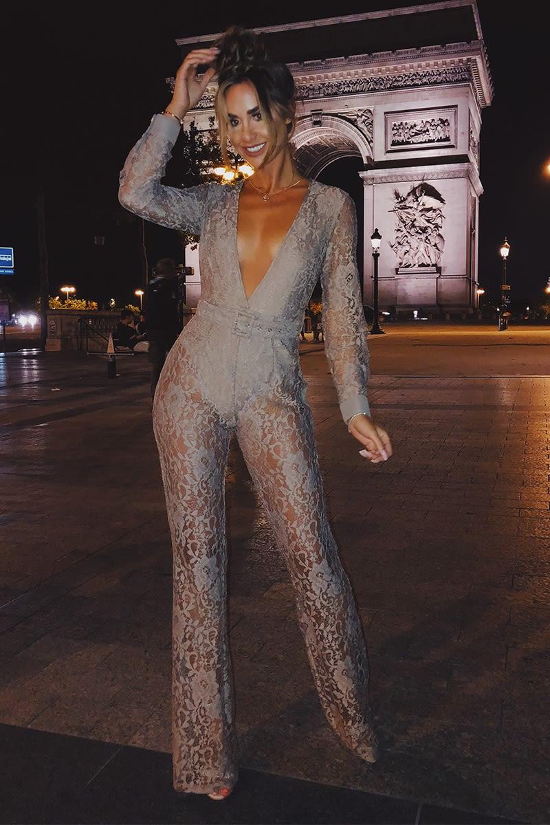 mocha lace plunge belted jumpsuit