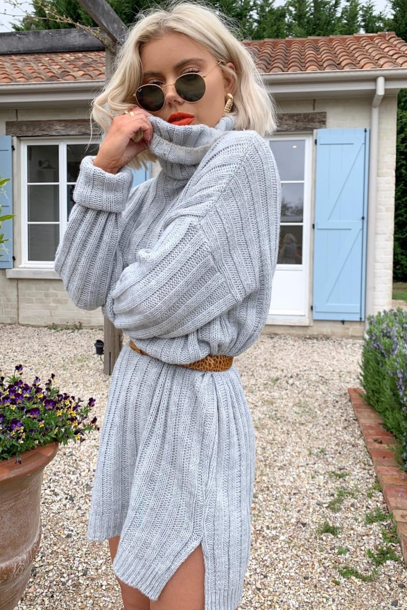 LAURA JADE GREY OVERSIZED CHUNKY KNITTED JUMPER DRESS WITH SIDE SPLITS