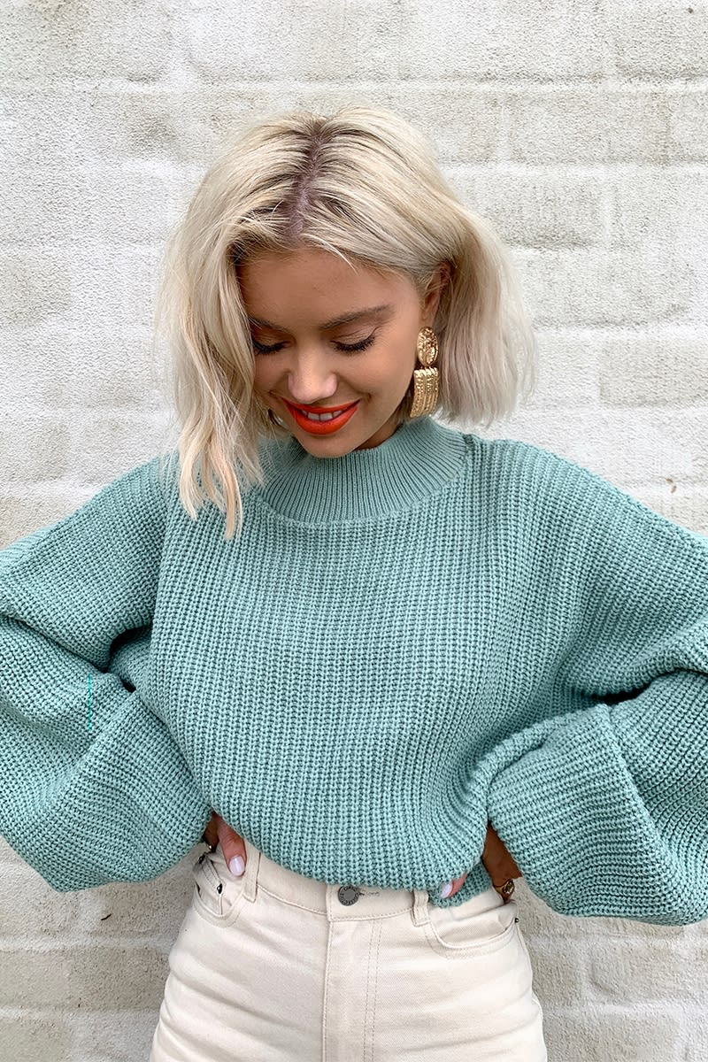 LAURA JADE LIGHT GREEN CROPPED BALLOON SLEEVE JUMPER