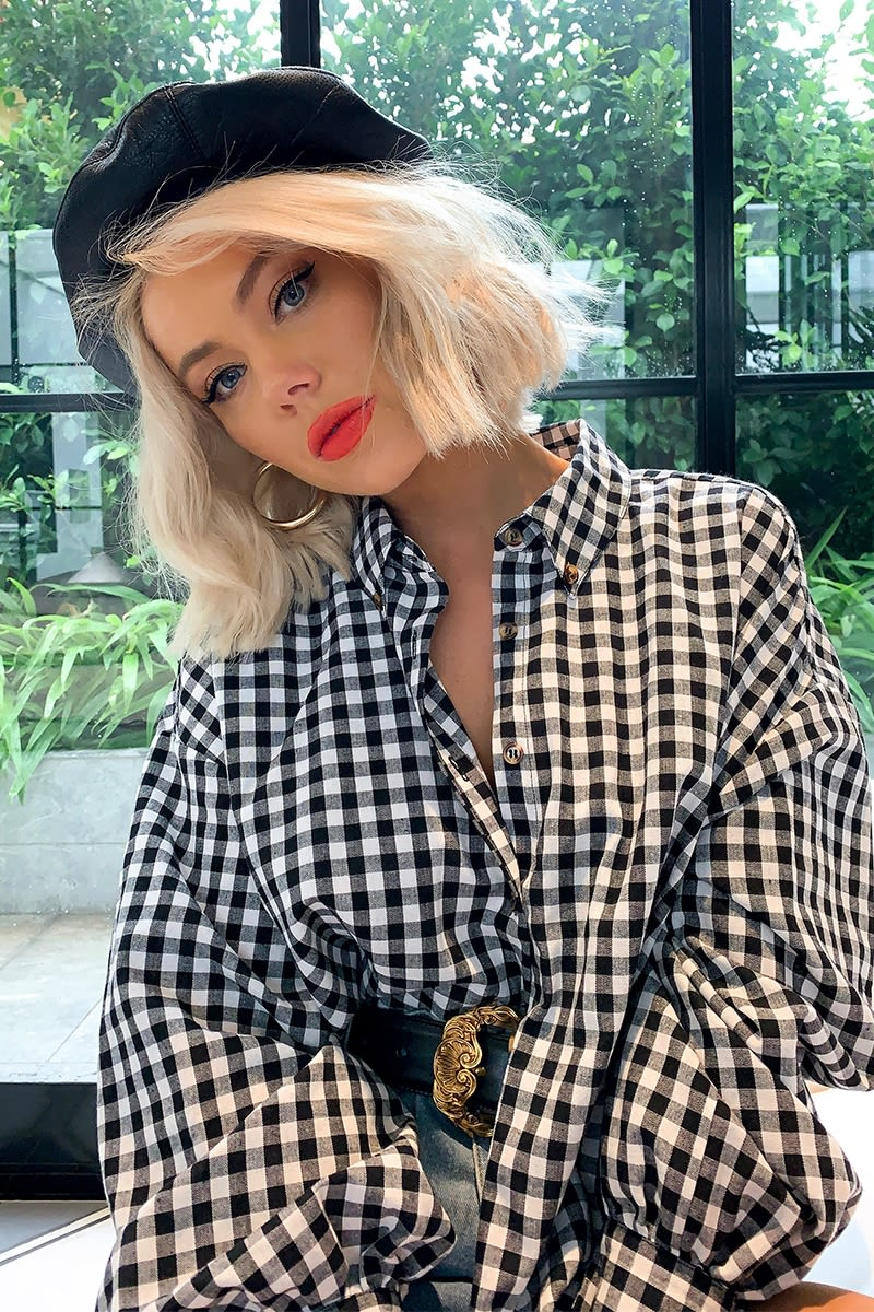 LAURA JADE BLACK GINGHAM OVERSIZED BALLOON SLEEVE CO-ORD SHIRT
