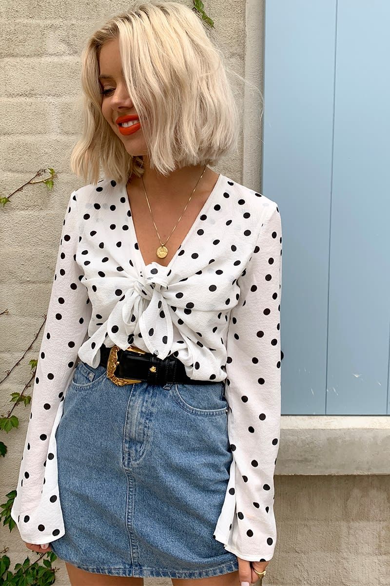 LAURA JADE WHITE POLKA DOT TIE FRONT BLOUSE