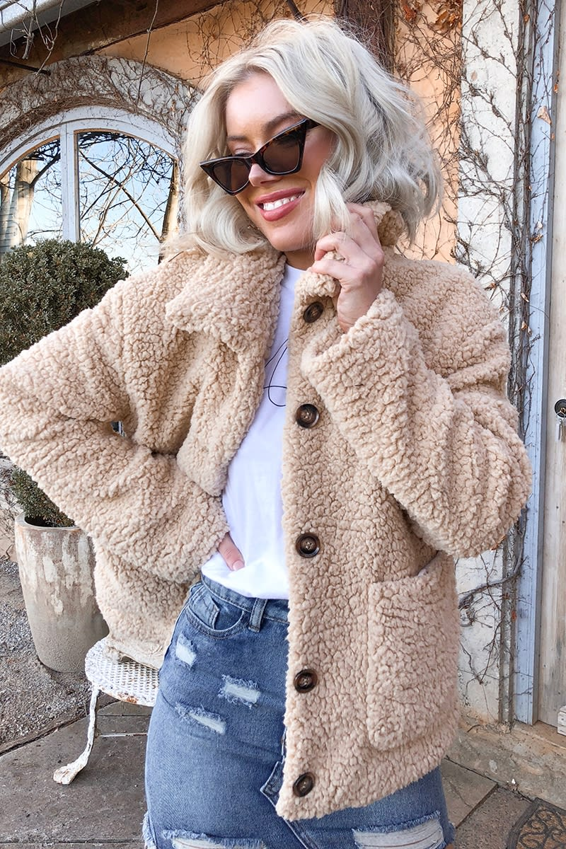 LAURA JADE SAND TEDDY FUR HORN BUTTON COAT